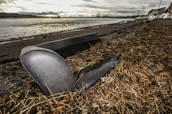 A sofa washed up on the beach at Broughty Ferry is just one example of fly tipping in recent weeks