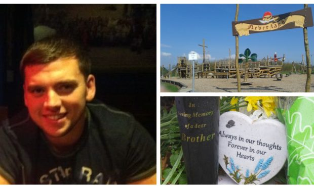 Steven Donaldson (left), the Peter Pan Park in Kirriemuir (top right) and tributes to Donaldson (bottom right).