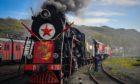 The Pobeda [Victory] retro train at the Pervaya Rechka train depot.