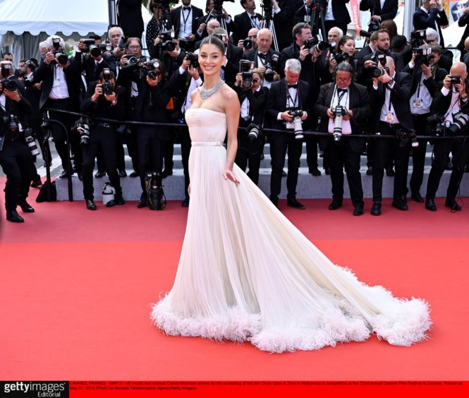 US model and actress Camila Morrone arrives for the screening of the film 'Once Upon A Time... In Hollywood' in competition at the 72nd annual Cannes Film Festival in Cannes, France
