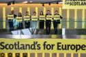 Nicola Sturgeon stands with her party's candidates for the forthcoming EU parliament elections.