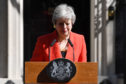 Prime Minister Theresa May makes a statement outside 10 Downing Street on May 24, 2019 in London, England. The prime minister has announced that she will resign on Friday, June 7, 2019.