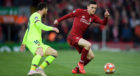 Barcelona's Lionel Messi in opposition to Liverpool's Andy Robertson during Tuesday night's Champions League semi-final at Anfield.