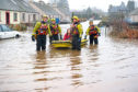 Flooding in the village of Comrie, Perthshire.