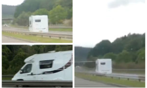 Filmed footage of motorhome on wrong side of A9