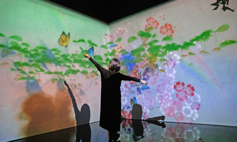 A women interacts with the 'What a Loving and Beautiful World' digital installation.