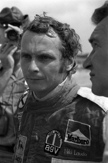 Austrian F1 racing driver Niki Lauda during a practice session at Silverstone.