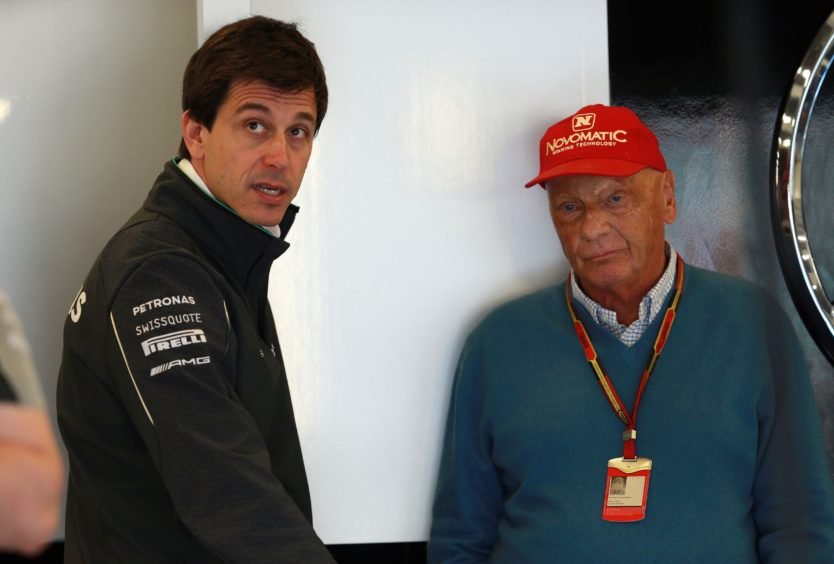 Mercedes Toto Wolff (left) and Niki Lauda.