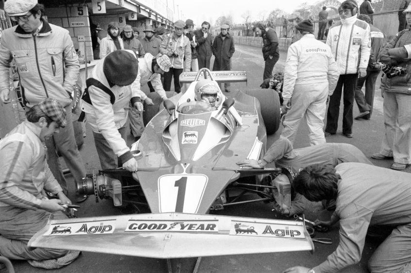 Austrian Niki Lauda in his Ferrari at Brands Hatch.