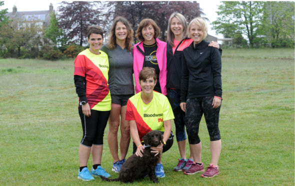 The Early Birds left to right: Angela MacDonald, Antonia Pettifer, Shona Birrell, Fiona Millar, Shirley Cowie, front Alison Hutchison and dog Jessie.