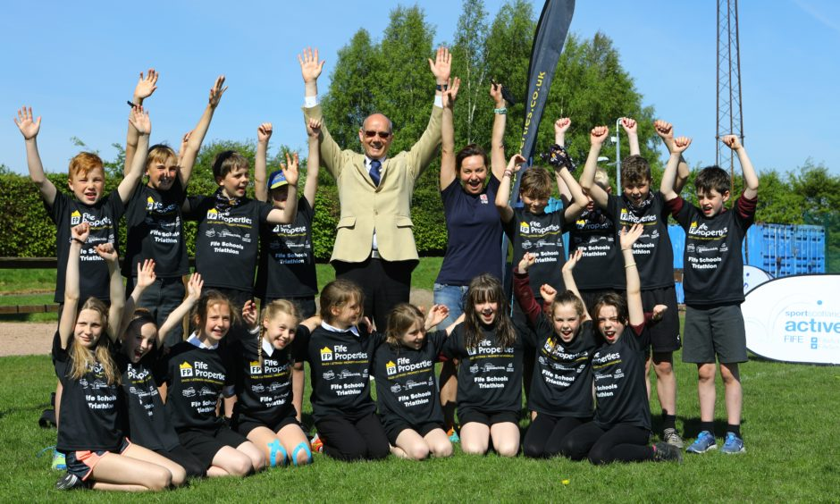 Some of the participants with sponsors, Jim Parker - MD of Fife Properties and Elise Methven of Triathlon Scotland.