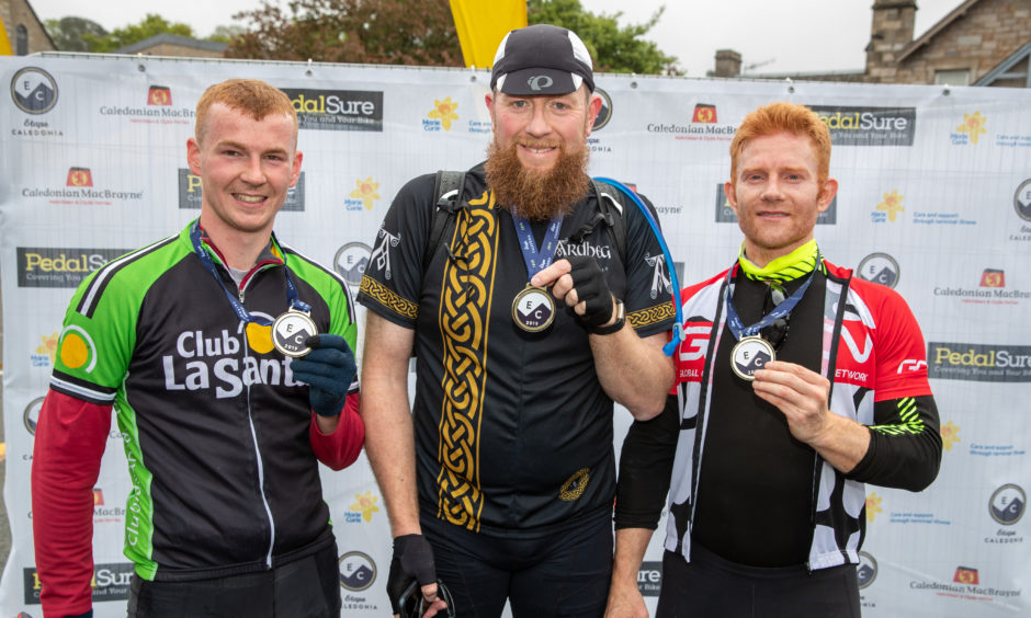 The first 3 riders across the line in the 40 mile event are; Matthew Alexander (3rd) David Leslie (1st) and Thomas Blyth (2nd).