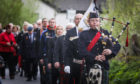 A ceremony for four Airmen (3 Russian, 1 Czech) who died in a plane crash during WW2 at Fearnan, Perthshire. The ceremony, which was filmed for Russian TV, began with a piper-led walk to the accident site. All pictures by Mhairi Edwards.