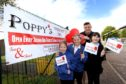 Cerys Barclay (11) , Caitlin Robertson (10) and Alex Duncan (11) from Borrowfield Primary School with organiser Ally Hutchison