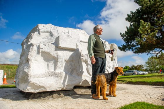 Jim Collins with Airedale Terrier Penny,
