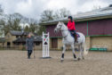Coach Rosa Mitchell dishes out advice to Gayle during a riding lesson on Polish Warmblood Duke at Gleneagles.