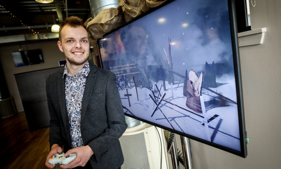 Gregor Duddy, 4th Year Game Design Production student with his educational WW1 based interactive experience.