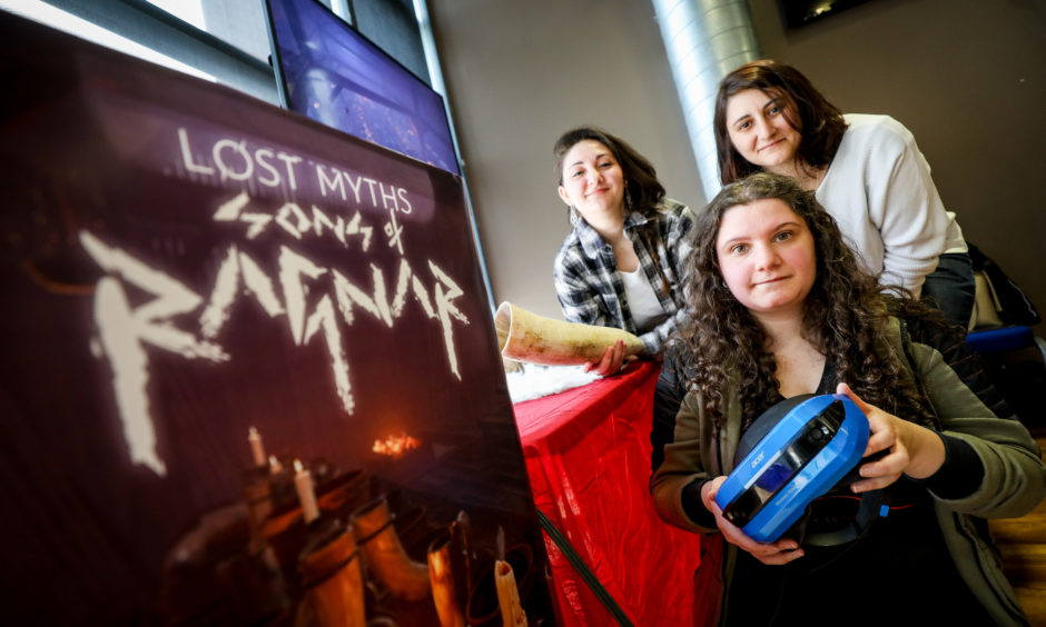 Eleonora Dragoni, Sara Leone and Aurelie Moiroud with game, Lost Myths Sons of Ragnar.