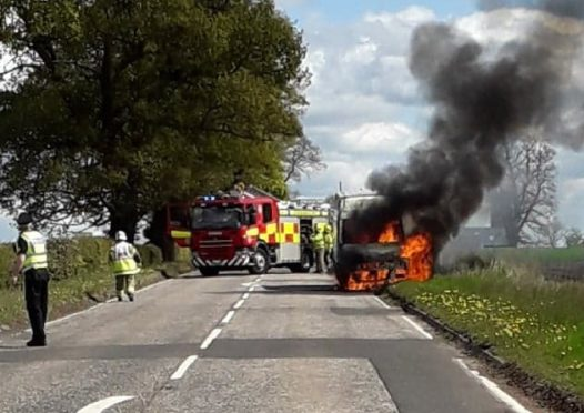 The van caught fire at around 11.15am on Saturday.