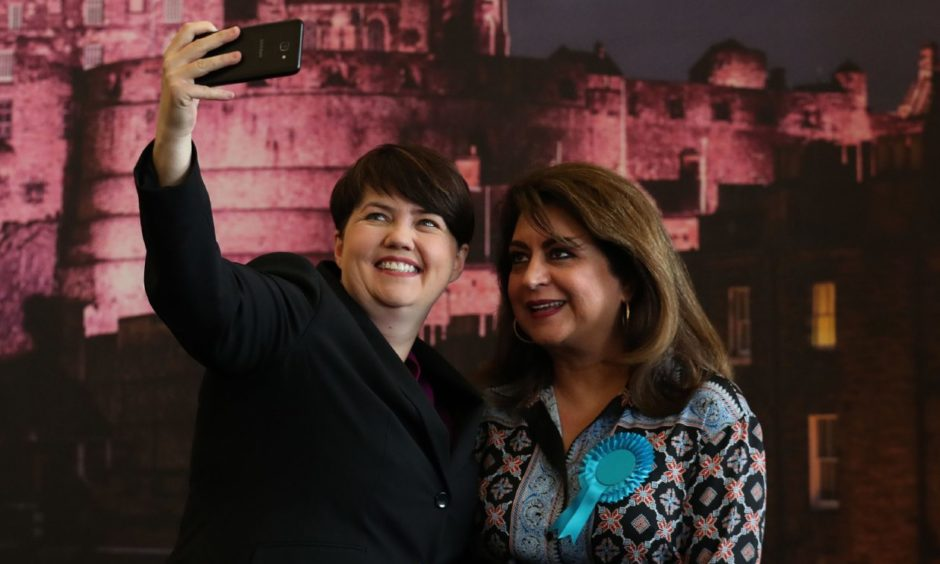 Scottish Conservative leader Ruth Davidson with Conservative European candidate Nosheena Mobarik take a selfie together at the European Parliamentary elections count at the City Chambers in Edinburgh.