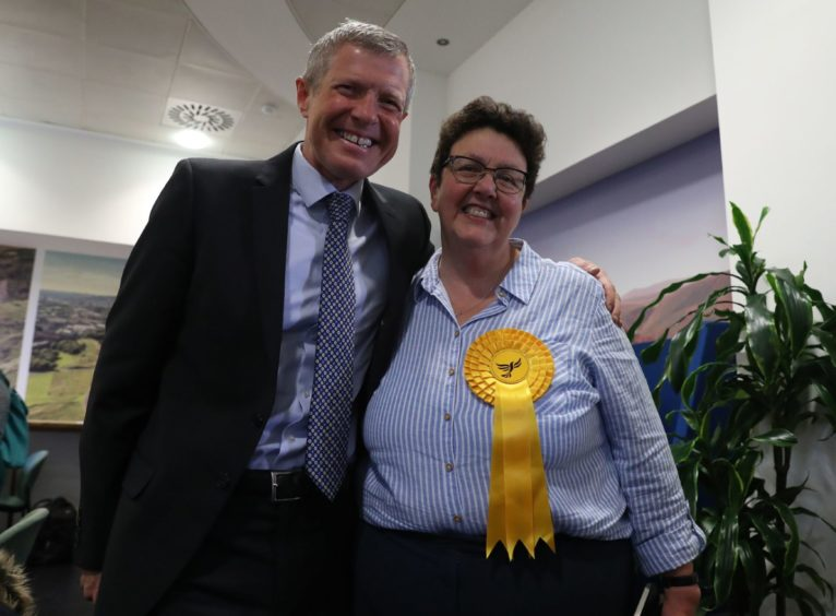 Scottish Liberal Democrat leader Willie Rennie with European candidate Sheila Ritchie at the European Parliamentary elections count at the City Chambers in Edinburgh.