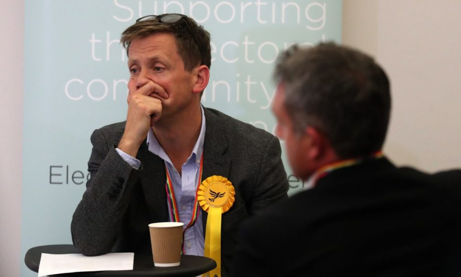 Liberal Democrat candidate John Edward during the European Parliamentary elections count at the City Chambers in Edinburgh.