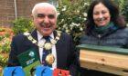Tayside Biodiversity Partnership co-ordinator Catherine Lloyd and Angus Provost Ronnie Proctor