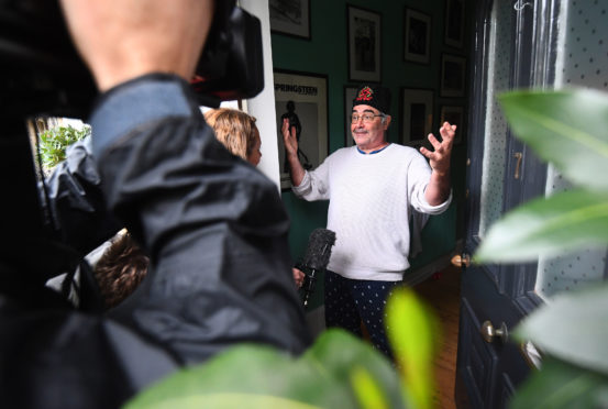Danny Baker speaking at his London home after he was fired by BBC Radio 5 Live.