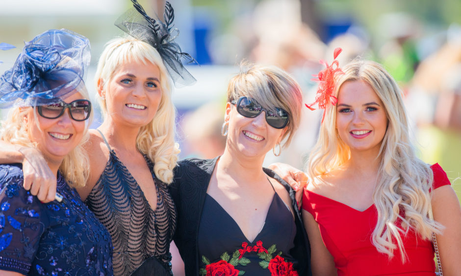 Alison Miller, Haidi Shepherd, Vanessa Riego and Lauren Morgan enjoy their day at the races.