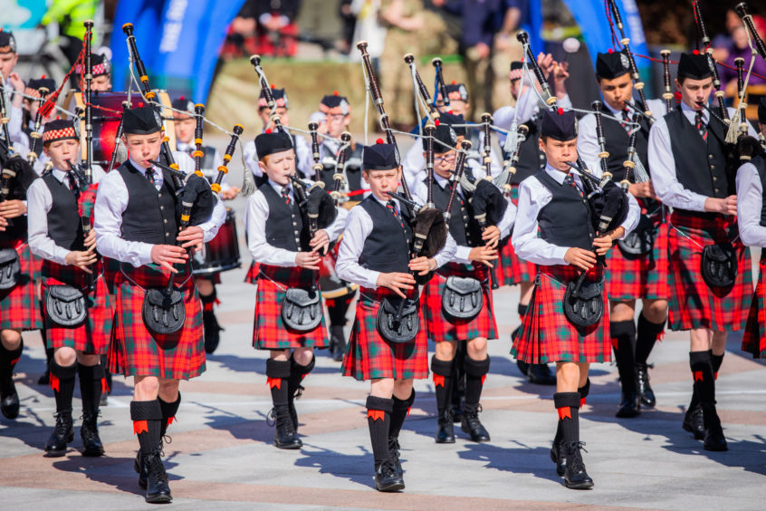 The annual Dundee City Pipe Band Competition took place in and around City Square and Reform Street, with bands of all ages taking part. Dollar Academy NJ B Pipe Band.