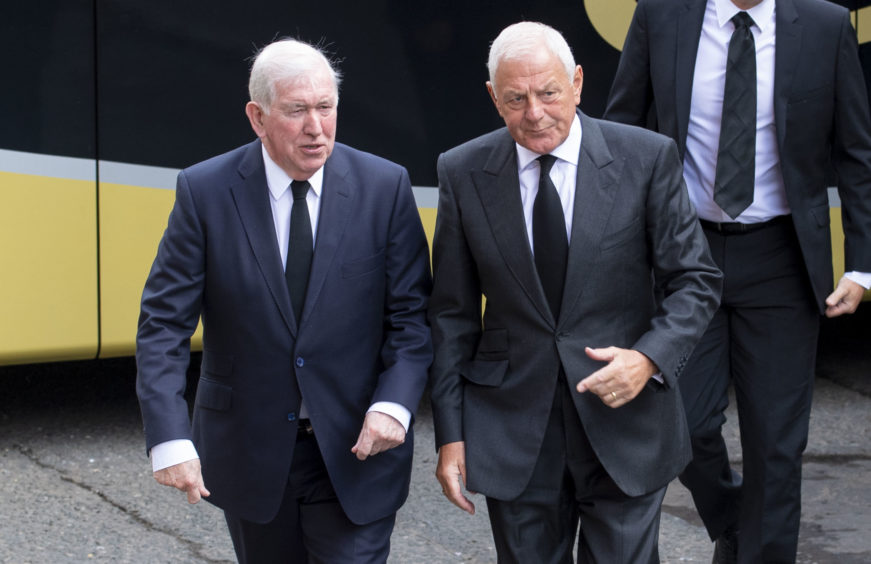Former Rangers managers John Greig and Walter Smith (right) arrive at the funeral of legendary European Cup winning captain Billy McNeill
