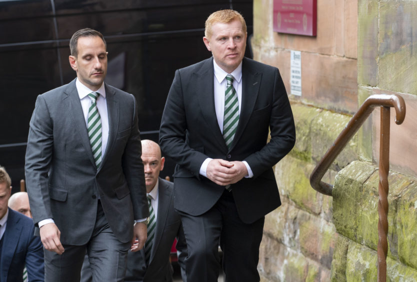 03/05/19 ST ALOYSIUS - GLASGOW Celtic manager Neil Lennon (right) arrives at the funeral of legendary European Cup winning captain Billy McNeill
