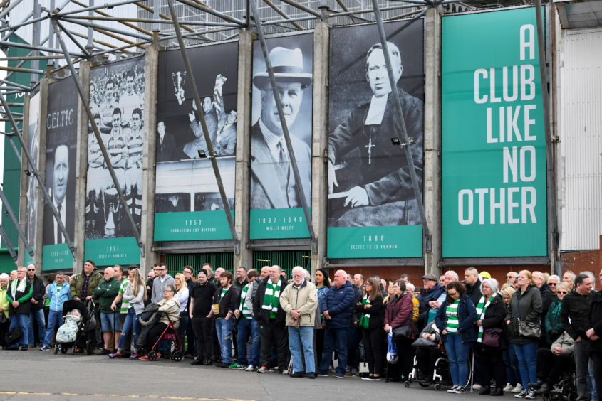 Mourners gather at Celtic Park to pay respects to their legendary European Cup winning captain Billy McNeill as his funeral takes place in Glasgow