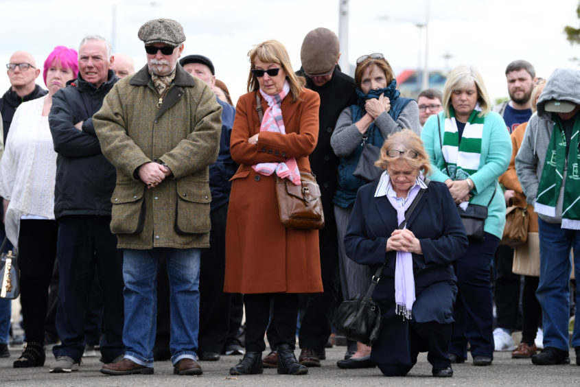 03/05/19 CELTIC PARK - GLASGOW Mourners gather at Celtic Park to pay respects to their legendary European Cup winning captain Billy McNeill as his funeral takes place in Glasgow