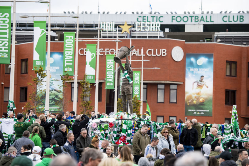 03/05/19 CELTIC PARK - GLASGOW The hearse of Celtic's legendary captain Billy McNeill makes its way past Celtic Park, following his funeral
