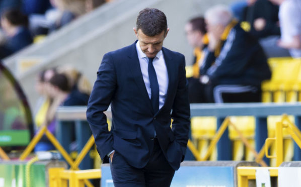 Jim McIntyre on the touchline at Livingston.
