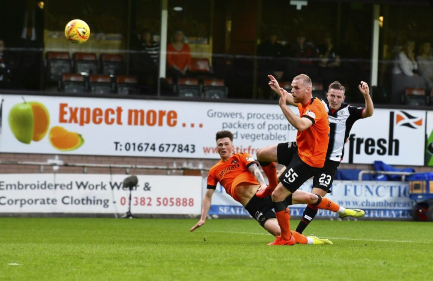 Kyle McAllister tested United's keeper with a powerful first-half shot on goal.