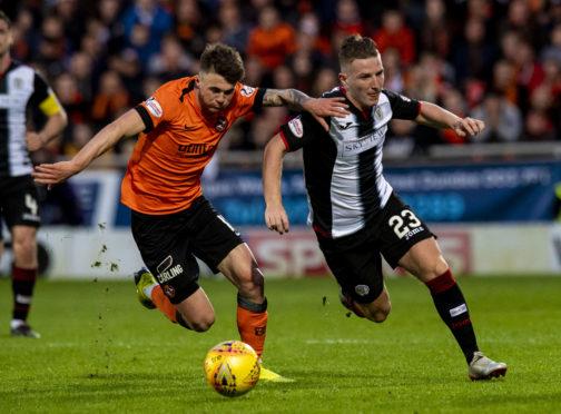 Jamie Robson battles with St Mirren's Kyle McAllister.