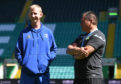 Glasgow Warriors Head Coach Dave Rennie (r) and Leinster Head Coach Leo Cullen chat at Celtic Park yesterday.