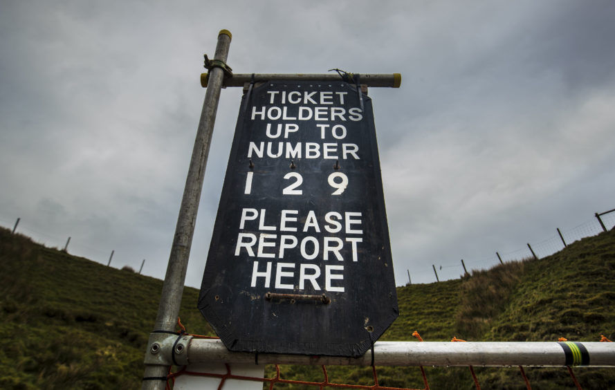 A sign at Gaping Gill, the largest cavern in Britain, situated in Yorkshire Dales National Park, ahead of its opening the public next weekend.