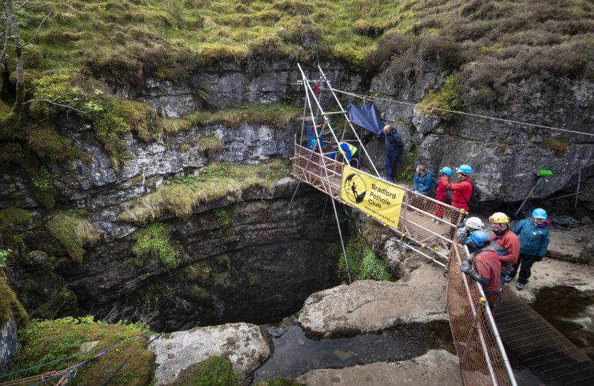 The entrance to Gaping Gill, the largest cavern in Britain, situated in Yorkshire Dales National Park, ahead of its opening the public next weekend.