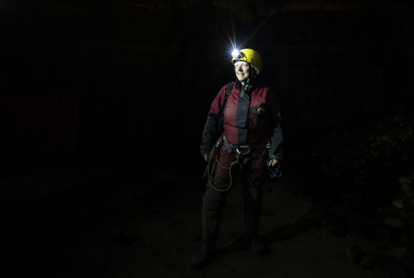 A potholer explores Gaping Gill, the largest cavern in Britain, situated in Yorkshire Dales National Park, ahead of its opening the public next weekend.