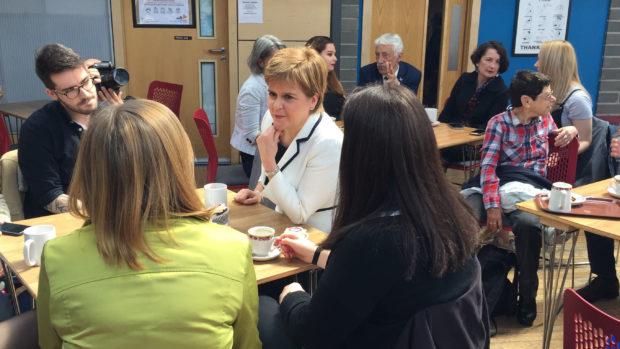 Nicola Sturgeon meeting EU citizens during a European election campaign.