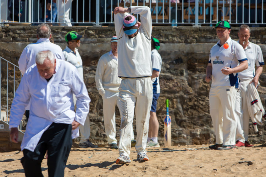 1st Game of Season at Elie for Beach Cricket  Warm up before the Borderes take on the home side The Ship Inn CC .