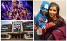 Right: Josh and his mum, Atia. Left: The Avengers Endgame poster/Perth Playhouse cinema.