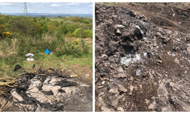The remains of a campfire on St Magdalene's Hill, Perth.