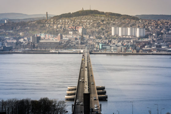 The Tay Road Bridge, from a viewpoint in Tayport.