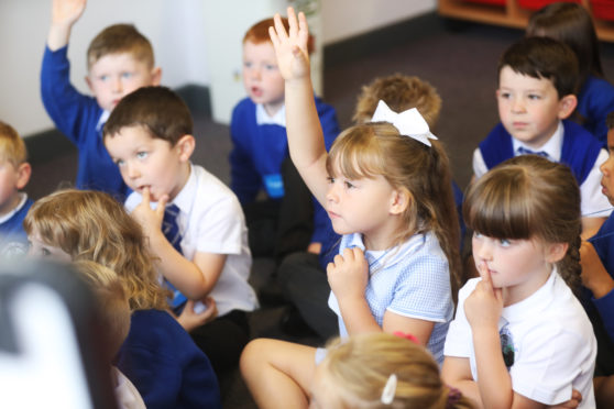 Some of last year's primary one intake at Whitehills Primary School in Forfar.