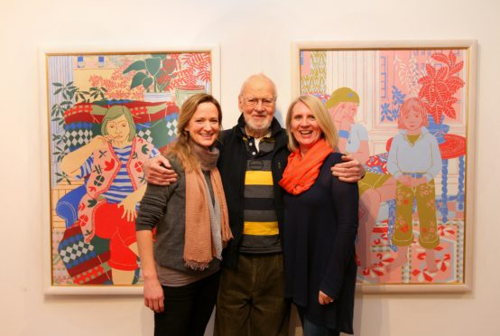 Norman Gilbert with Tatha Gallery owners Helen Glassford and Lindsay Bennett in 2018