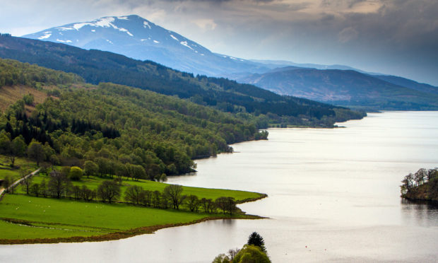 The view of Loch Tummel surrounded by part of the Tay Forest Park and Schiehallion in the background.